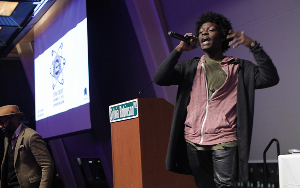 Jalib Johnson, Science Genius B.A.T.T.L.E.S. winner, represents for the #hiphoped movement (Photo: Terrence Jennings)
