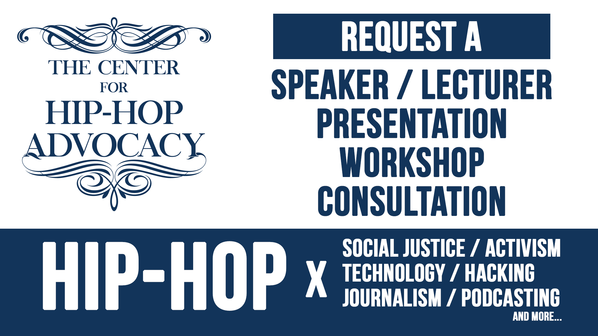Hip-hop public speaker, presentation, workshop inquiry